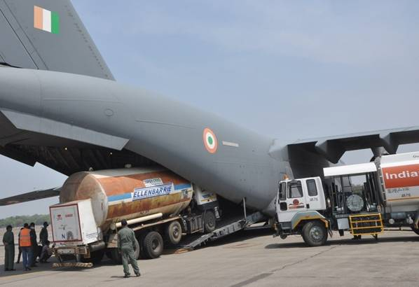 Indian Air Force airlift oxygen containers